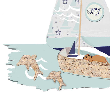 RJ's Puppy Sailboat Wall Decal fabric by karenharveycox on Spoonflower - custom fabric