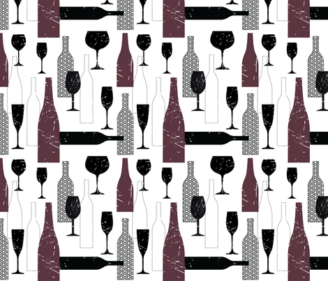 Wine Bottle Prints  fabric by pochette|paper&textile on Spoonflower - custom fabric