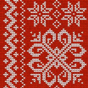 Fair Isle Redwork Snowflakes