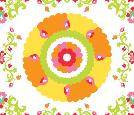 Oh Suzani Citrus Large Medallion fabric by heather_b_design on Spoonflower - custom fabric