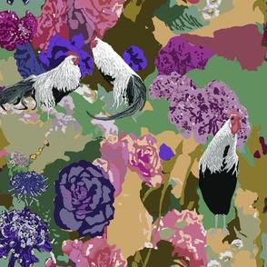 Garden Path with Onagadori in Violets