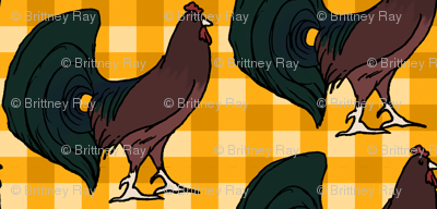 Rooster on Yellow Plaid