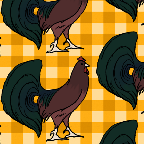 Rooster on Yellow Plaid fabric by pond_ripple on Spoonflower - custom fabric