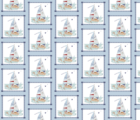 RJ's Puppy Sailboats storybook fabric by karenharveycox on Spoonflower - custom fabric