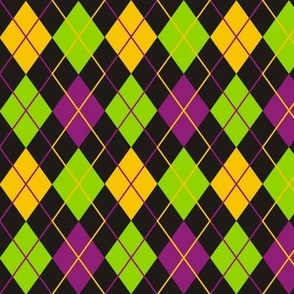 Mardi Gras Fat Tuesday Black Argyle