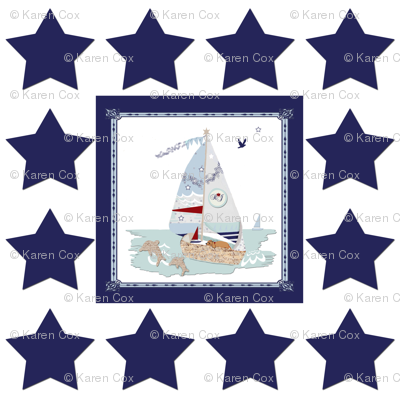 Rj's Puppy Sailboats with navy and white stars