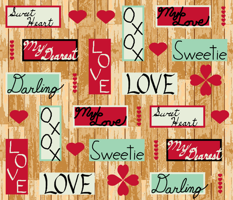 Sweet_words_gold_ fabric by khowardquilts on Spoonflower - custom fabric