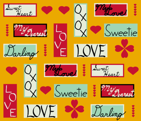 love_letter_yard_colored_hearts_gold fabric by khowardquilts on Spoonflower - custom fabric