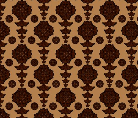glorius_damask_chocolate_caramel fabric by glimmericks on Spoonflower - custom fabric