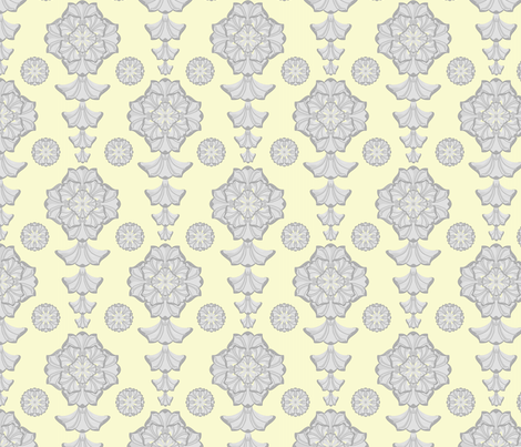 glorius_damask_icey_lemon_squeeze fabric by glimmericks on Spoonflower - custom fabric
