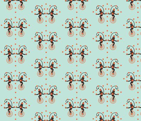 Circus Monkeys coral & turquoise (bigger version) fabric by katarinakarsberg on Spoonflower - custom fabric