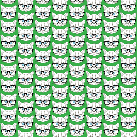 Kitten Hipster Green Small fabric by curious_nook on Spoonflower - custom fabric