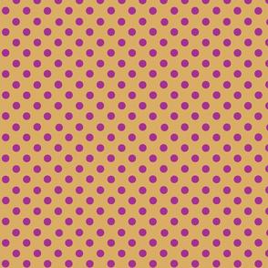 dots_dark_pink_on_mustard