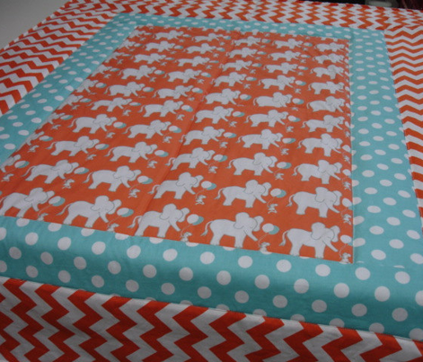 LARGE SCALE Lets Be Friends in Orange and Aqua