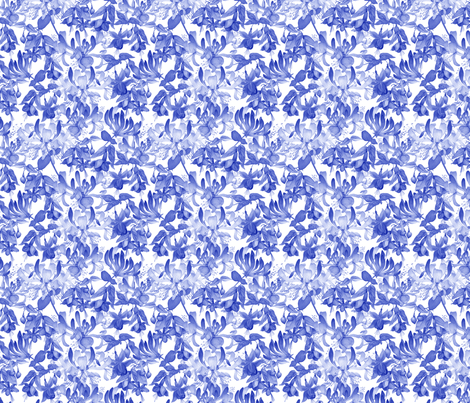 Tangled Garden - Blue & White fabric by gail_mcneillie on Spoonflower - custom fabric