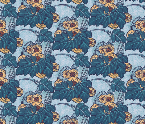 Art nouveau floral  fabric by unseen_gallery_fabrics on Spoonflower - custom fabric