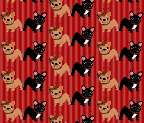 Frenchie in Love fabric by missyq on Spoonflower - custom fabric