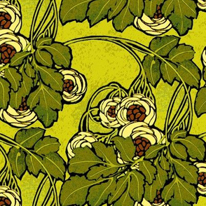 Art nouveau floral in greens