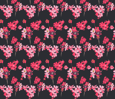 flowers on dark grey fabric by katarina on Spoonflower - custom fabric