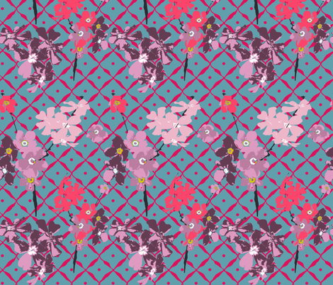 bouqet flowers on the net fabric by katarina on Spoonflower - custom fabric
