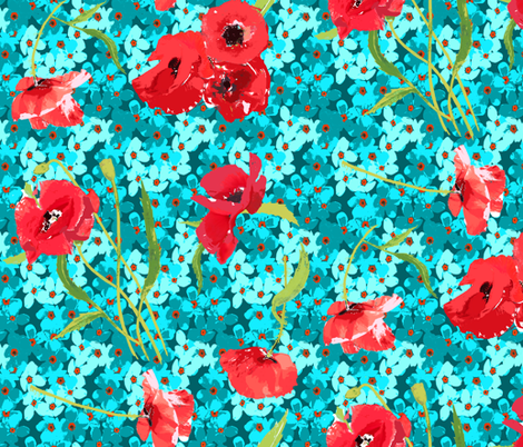 poppies and forget me not bouqet aqua flowers fabric by katarina on Spoonflower - custom fabric