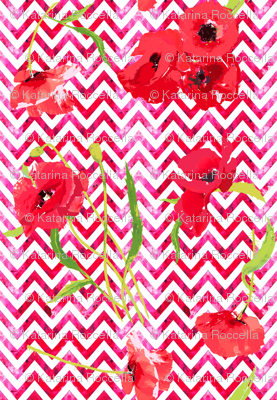 hot red watercolor chevron and poppies