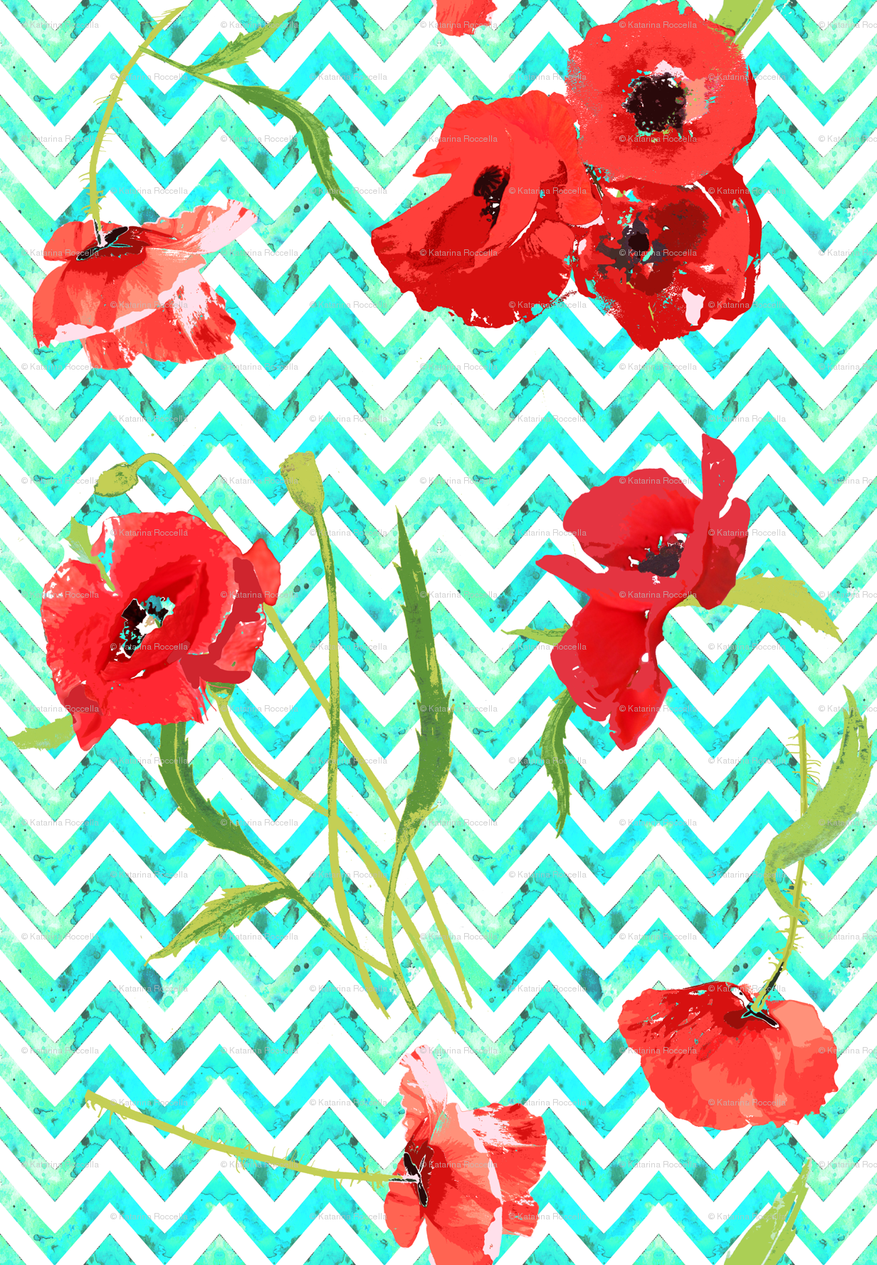 Aqua Watercolor Chevron And Poppies Wallpaper