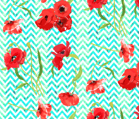 aqua watercolor chevron and poppies fabric by katarina on Spoonflower - custom fabric