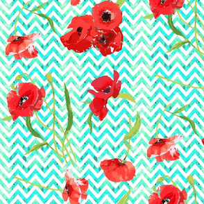 aqua watercolor chevron and poppies