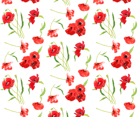 poppies on white smaller scale fabric by katarina on Spoonflower - custom fabric