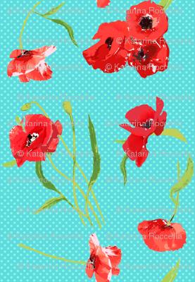 poppies on aqua dots