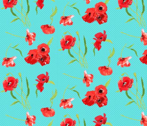 poppies on aqua dots fabric by katarina on Spoonflower - custom fabric