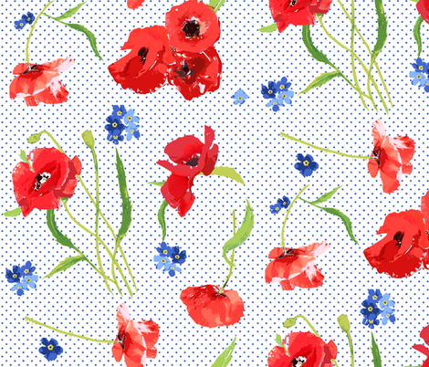 poppies and forget me not flowers fabric by katarina on Spoonflower - custom fabric