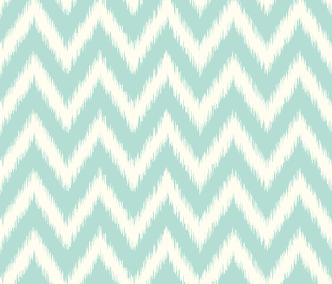 Mint and Ivory Ikat Chevron fabric by sweetzoeshop on Spoonflower - custom fabric