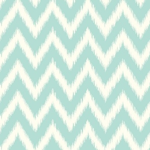 Mint and Ivory Ikat Chevron