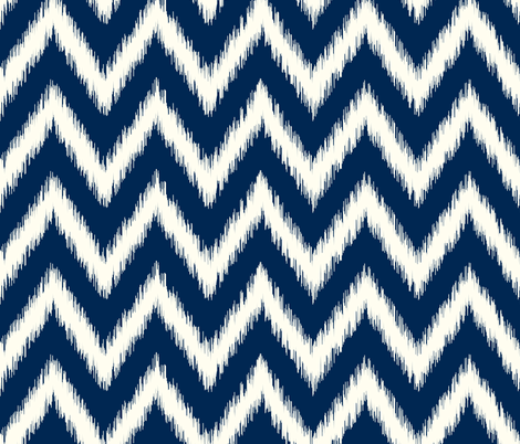 Navy Blue and Ivory Ikat Chevron fabric by sweetzoeshop on Spoonflower - custom fabric