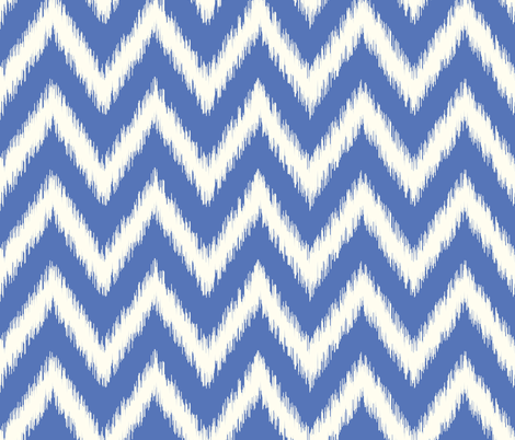 Royal Blue and Ivory Ikat Chevron fabric by sweetzoeshop on Spoonflower - custom fabric