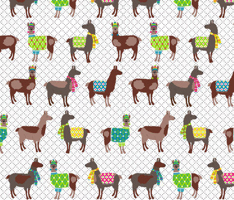 Oh! La! Llama! Spring colors fabric by lauriewisbrun on Spoonflower - custom fabric