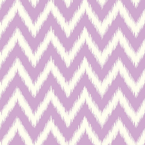 Lilac Purple and Ivory Ikat Chevron