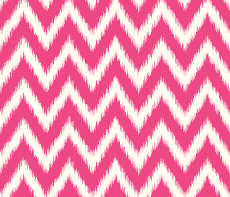 Hot Pink and Ivory Ikat Chevron fabric by sweetzoeshop on Spoonflower - custom fabric