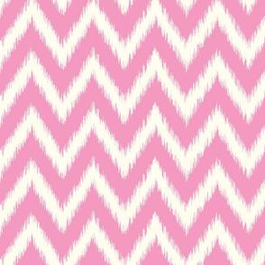 Bubblegum Pink and Ivory Ikat Chevron