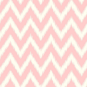 Light Pink and Ivory Ikat Chevron