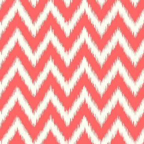 Coral and Ivory Ikat Chevron