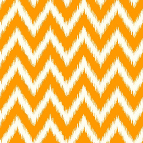 Orange and Ivory Ikat Chevron