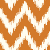 Burnt Orange and Ivory Ikat Chevron