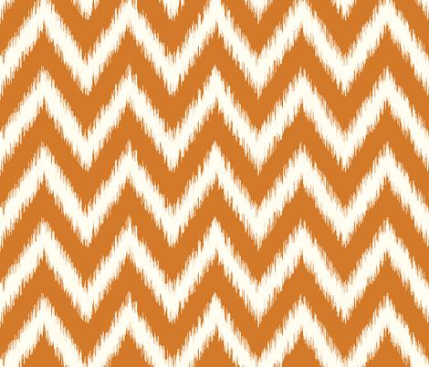 Burnt Orange and Ivory Ikat Chevron fabric by sweetzoeshop on Spoonflower - custom fabric