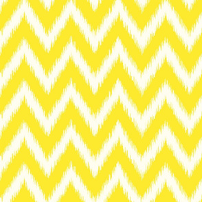 Yellow and Ivory Ikat Chevron