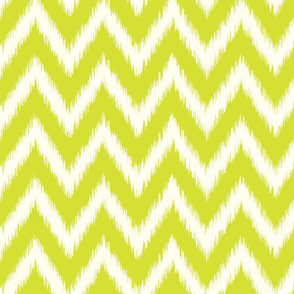 Lime Green and Ivory Ikat Chevron