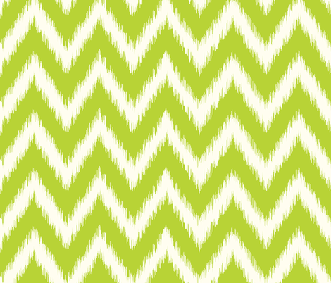 Apple Green and Ivory Ikat Chevron fabric by sweetzoeshop on Spoonflower - custom fabric