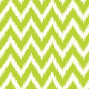 Apple Green and Ivory Ikat Chevron